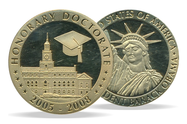 United States - Medal Honorary Doctorate Obama - PROOF