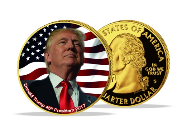 United States - Donald Trump Quarter - Colored and Gold Plated