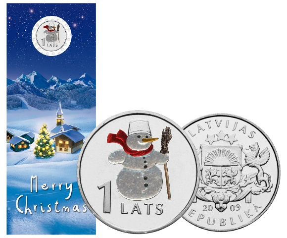 Latvia - 1 Lats - Snowman in color
