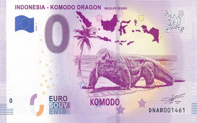0 Euro Souvenir Indonesië - Komodo Dragon
