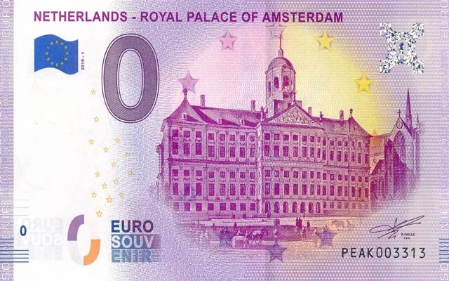0 Euro Souvenir Netherlands - Royal Palace of Amsterdam