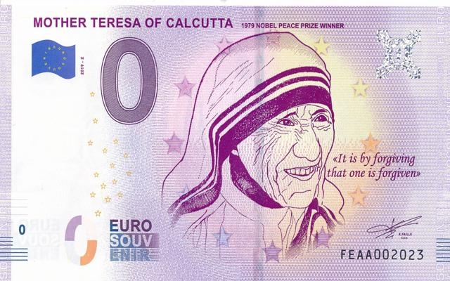 0 Euro Souvenir Mother Teresa of Calcutta